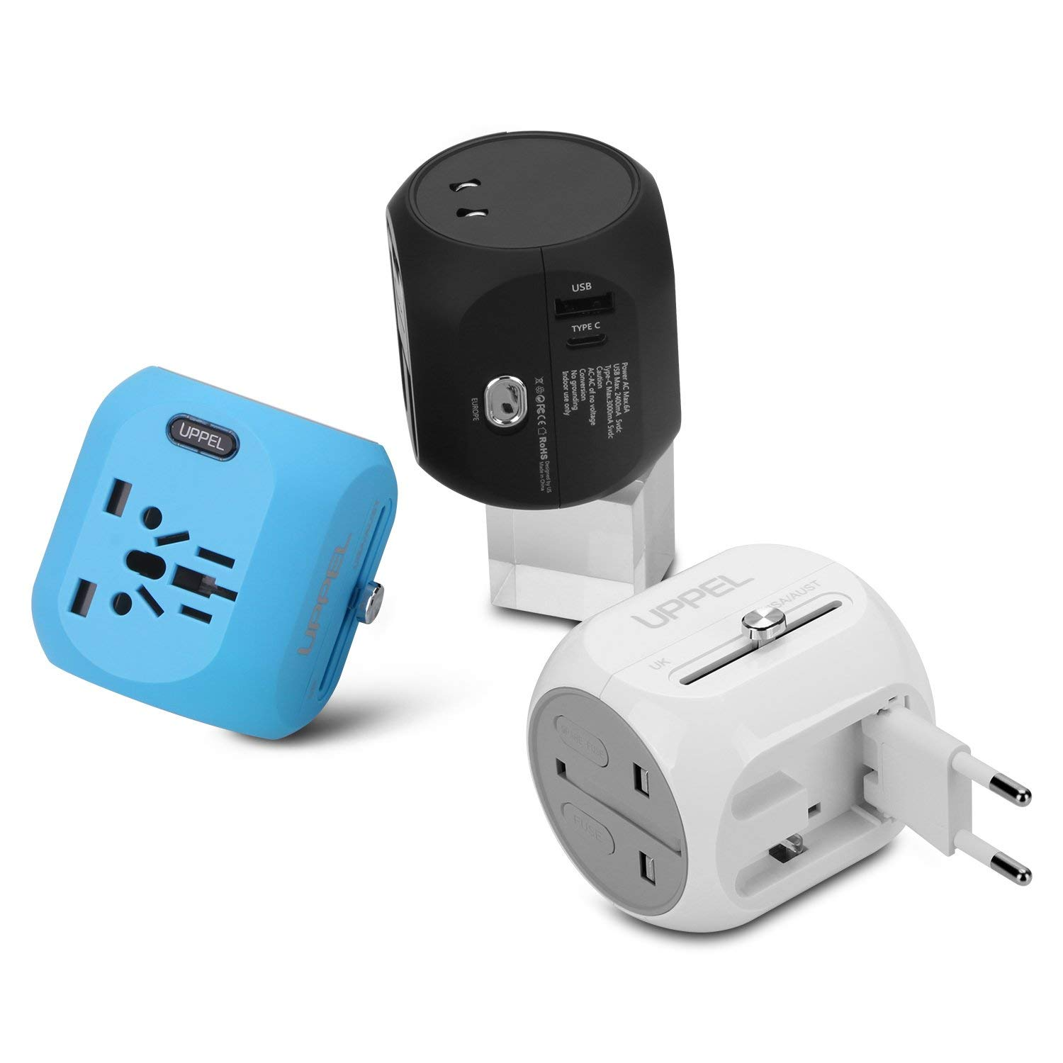 International Power Adapter, UPPEL Travel Adapte European Adapter Wall Charger Power with USB/Type-C Port Support 100V-240V for US,AU,Asia,Europe,UK Plug Adapters Compatible (Black+Blue+White) by UPPEL