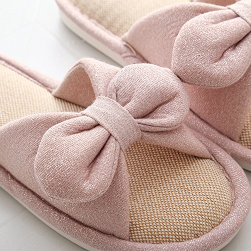 Btrada Womens Soft Slippers Comfortable House Slippers Open Toe Cotton Indoor Shoes Pink S98B1v