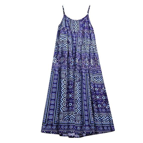 fe39b5d49d5 Maokiki Women Latest Low Prise Casual Long Maxi Sundress Beach Party Boho  Floral Print Dress Blue