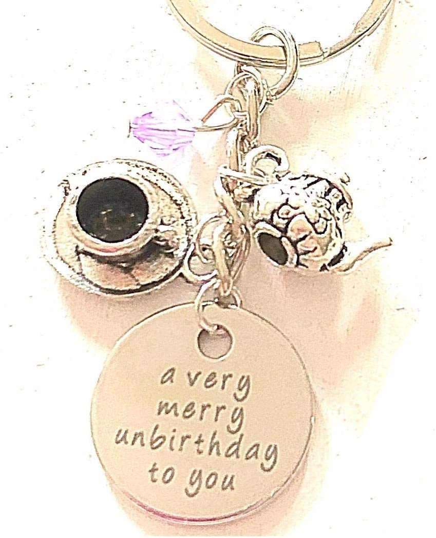 Alice in Wonderland inspired unbirthday keyring A very merry unbirthday to you