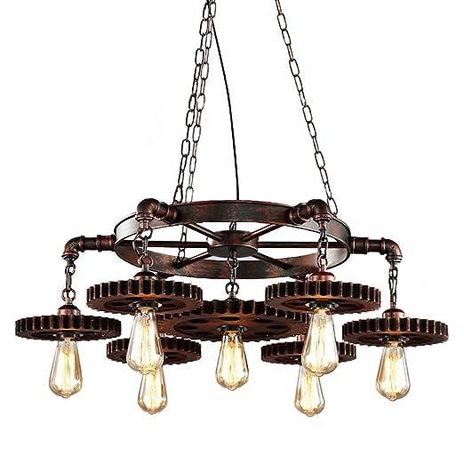 Lampara techo Vintage Industrial Lampara Colgante Rusticas Iluminacion Madera de techo Es Adecuado para Cocina, Cafetería, Bar, mesa de comedor Luz ...