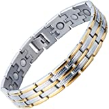 Stainless Steel Man Magnetic Bracelet Energy Link Tow-tone with Magnets and Free Link Removal Tool