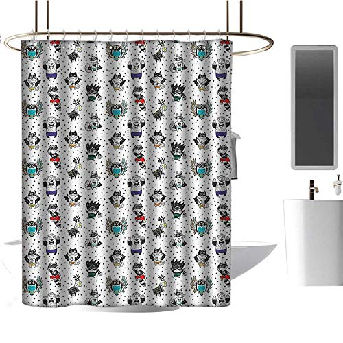 TimBeve Polyester Shower Curtain Superhero,Animal Owl Dear Fox Cat Penguin Raccoon Bear in Superhero Costumes Print,White Seal Brown,Print Polyester Fabric Bathroom Decor Sets with Hooks 54
