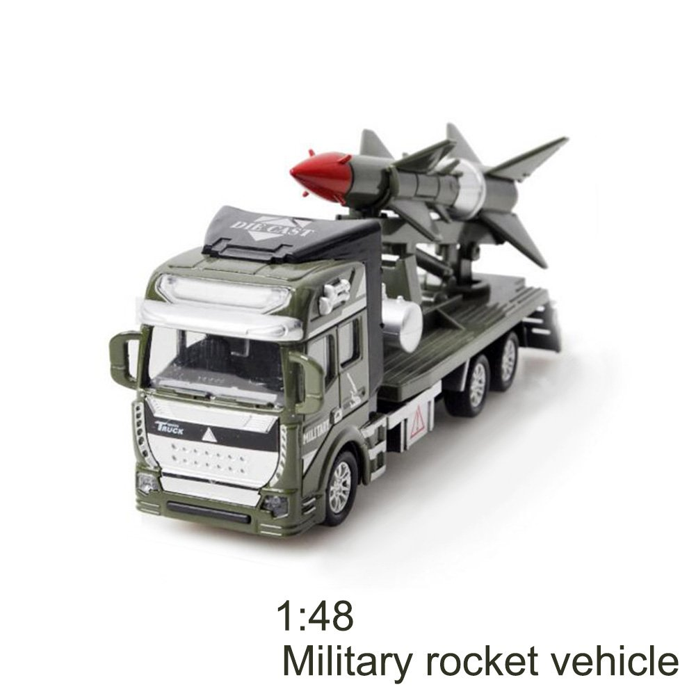 Gzq Baby Toy Friction Powered Pull Back Military Cars Trucks Toys for Boysキッズ用ガールズToddlersパーティーFavorsクリスマスギフト グリーン TY147487  Rocket Car B076WSNBBK