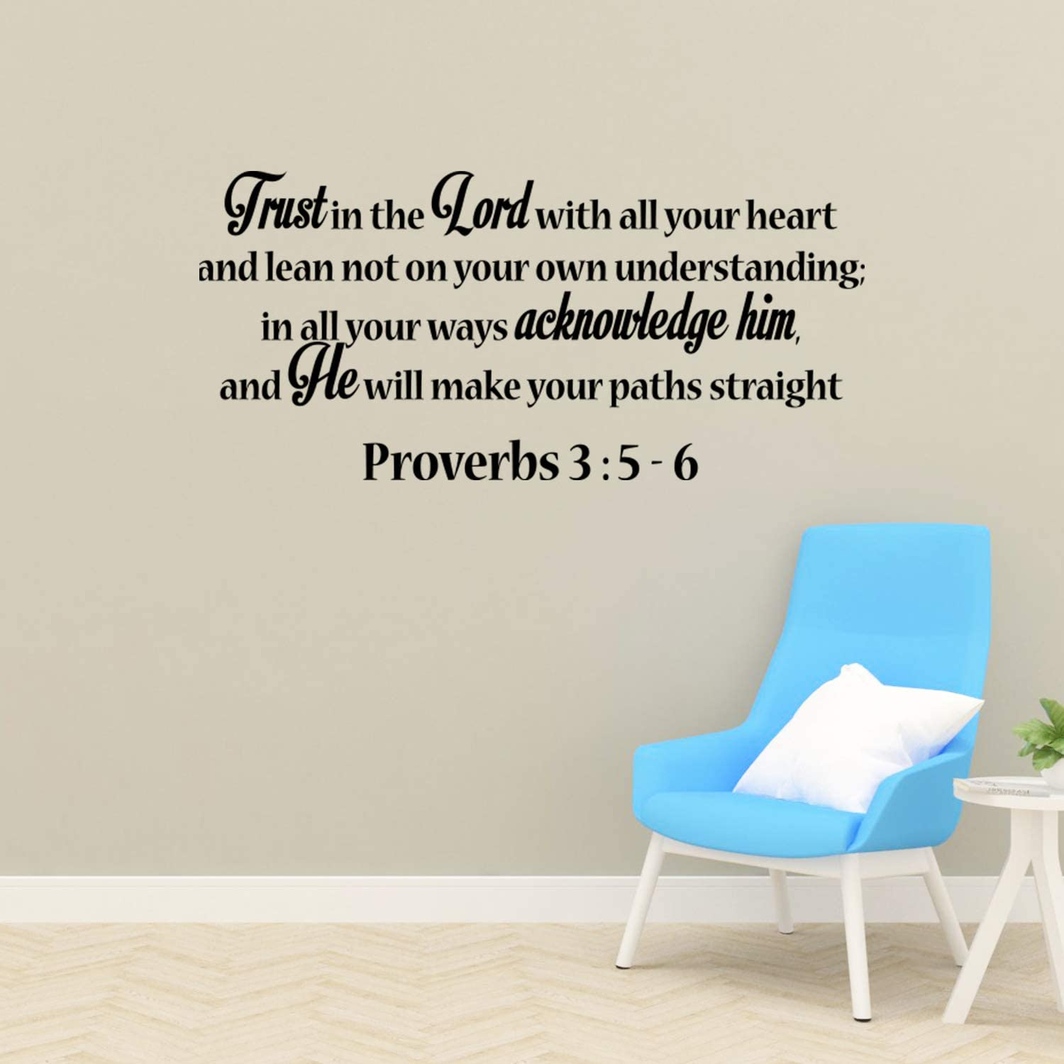 Empresal Trust in The Lord Proverbs 3:5-6 Religious Wall Art Decal Vinyl Quote Scripture