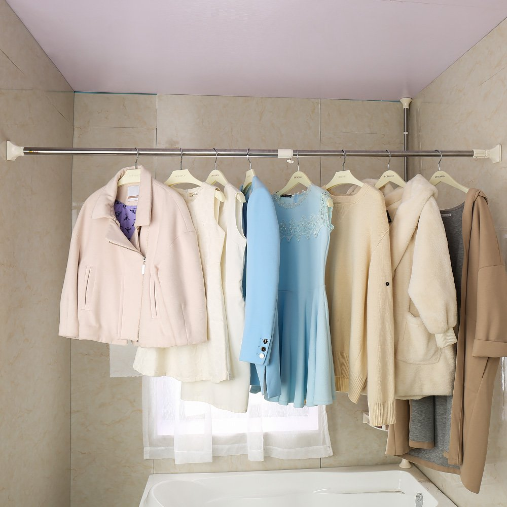 Baoyouni 254mm Adjustable Shower Curtain Rod Tension Rail For Bathroom Wardrobe Kitchen Balcony Grey 16
