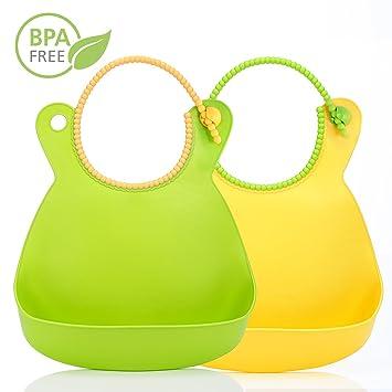 2er Baby Lätzchen Halstuch Silikon Abwaschbar Babylätzchen mit Auffangschale NEU