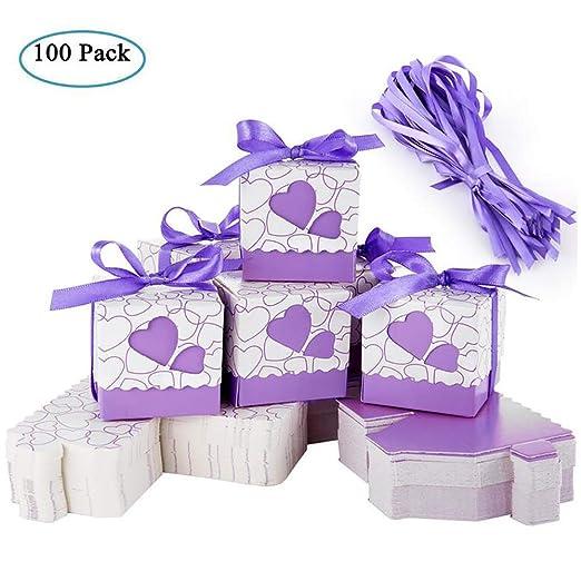 Cajas de Boda Regalo – Meersee 100 Cajas de Bautizo Caramelo Cumpleaños Dulces Bombones Regalos Detalles con Cintas para Invitados de Boda Fiesta ...