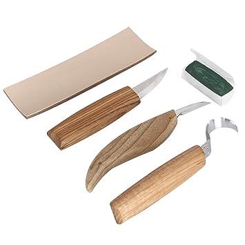 Juego de cuchillos para tallar madera 3 piezas: Amazon.es ...