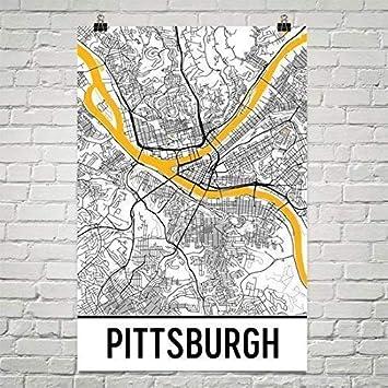 Modern Map Art Pittsburgh map, Pittsburgh city map art, Pittsburgh wall art  poster, Pittsburgh Pennsylvania decorative map, Pittsburgh gift, ...