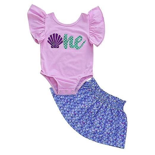 7129df47eac0 Amazon.com  NUWFOR Kids Baby Girl Ruffled Romper Bodysuit Mermaid Fish Skirt  Bodysuit Clothes  Clothing