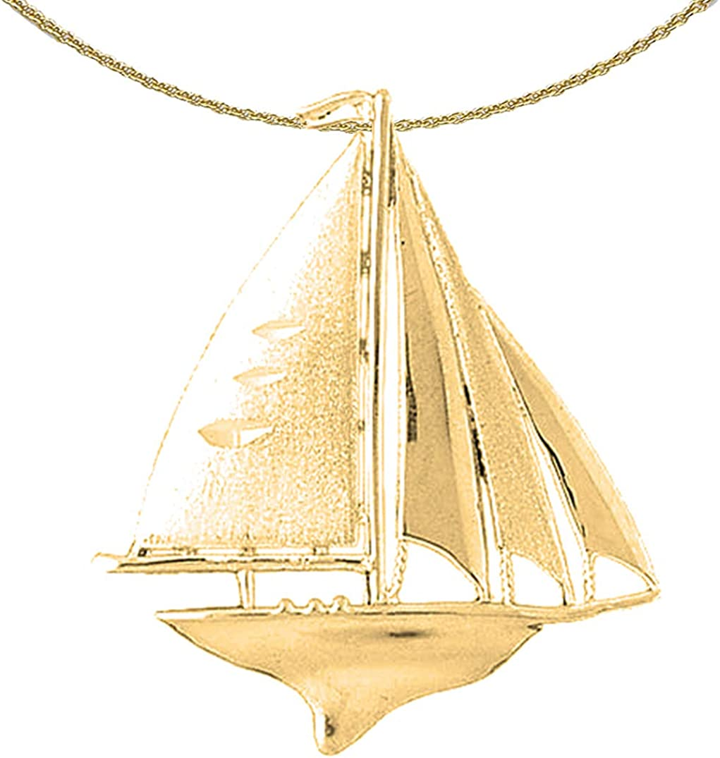 Jewels Obsession Silver Sailboat Necklace 14K Yellow Gold-plated 925 Silver Sailboat Pendant with 18 Necklace