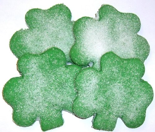 Scott's Cakes Green Colored Shamrock Cookies with White Sugar in a 1 Pound Plastic Deli Container - Day Sugar Cookies
