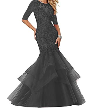 Dydsz Womens Mermaid Style Long Prom Evening Dresses with Sleeves Formal Gowns D265 Black 2