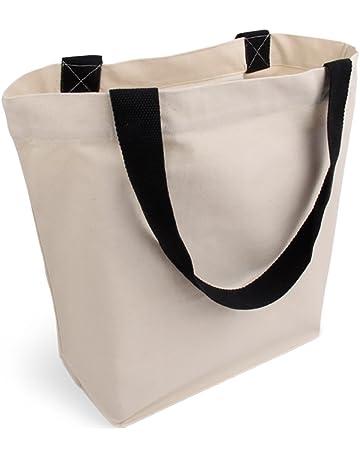 190180af474d6 Cottonbagjoe stylische geräumige Tragetasche mit Innentasche und  Reißverschluss Baumwolltasche Stofftasche Shopper Handtasche mit großem  Boden Öko