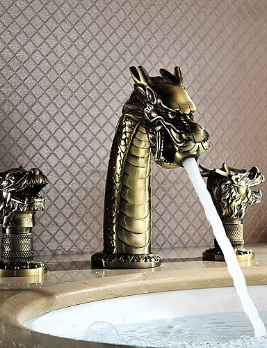 LONG-Dragon Head Style Top Grade Luxurious Antique Two Handles Three Holes Bathroom Sink Faucet by LONG