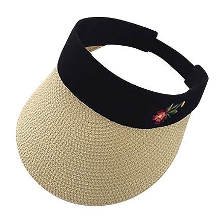 246c6b5dc2e8f5 Sun Hat LuluZanm Outdoor Women Visor Adjustable Cap Sports Tennis Golf  Headband Hat Embroidered Flowers,
