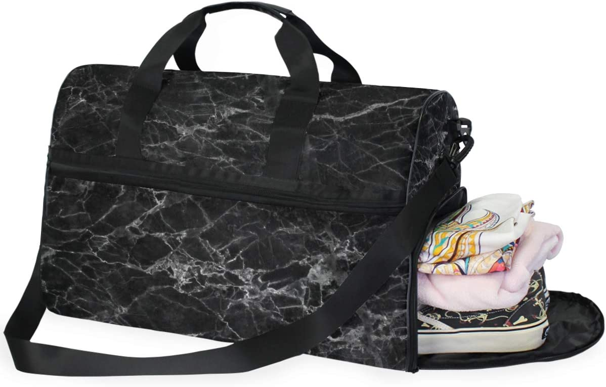 FAJRO Gym Bag Travel Duffel Express Weekender Bag Awesome Black Marble Carry On Luggage with Shoe Pouch
