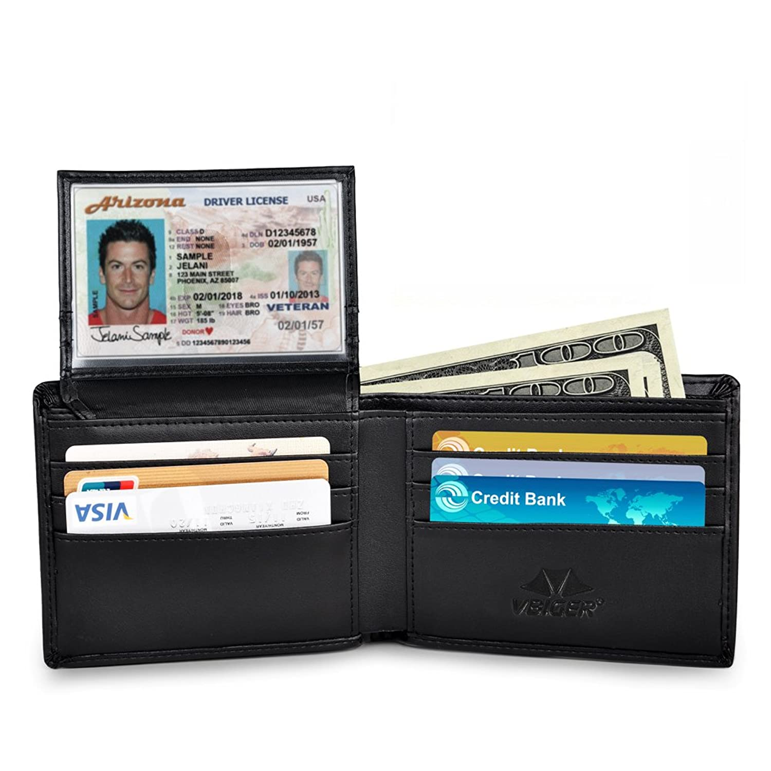 RFID Blocking Wallet Secure Bifold Card Holder Protector Leather ...