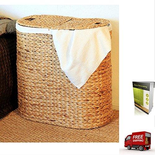 ランドリーDouble Oval Hamper with 2洗濯可能キャンバスランドリーバッグナチュラル仕上げ、eBook by TSR B01MZBRILS