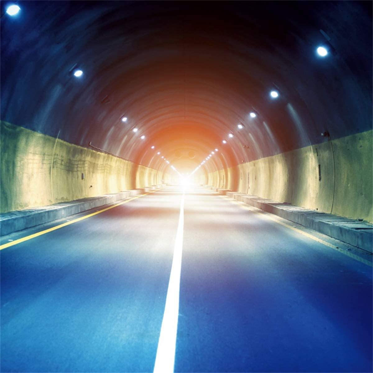 YEELE Tunnel Backdrop 6.5x6.5ft Long Highway in Tunnel at Night Photography Background City Night Landscape Kids Girls Adults Portrait Photoshoot Studio Props Digital Wallpaper