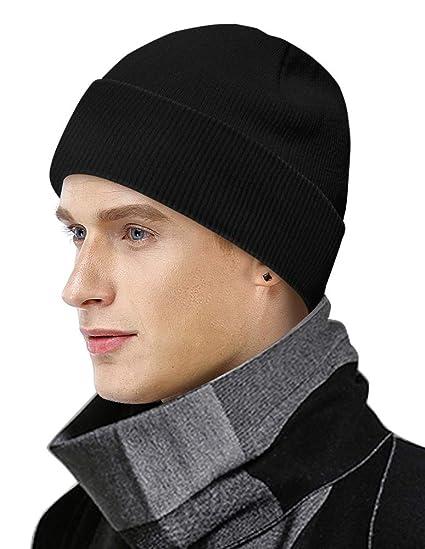 Wintermütze Strickmütze Rollmütze Cape Skimütze Damen//Herren blau oder schwarz