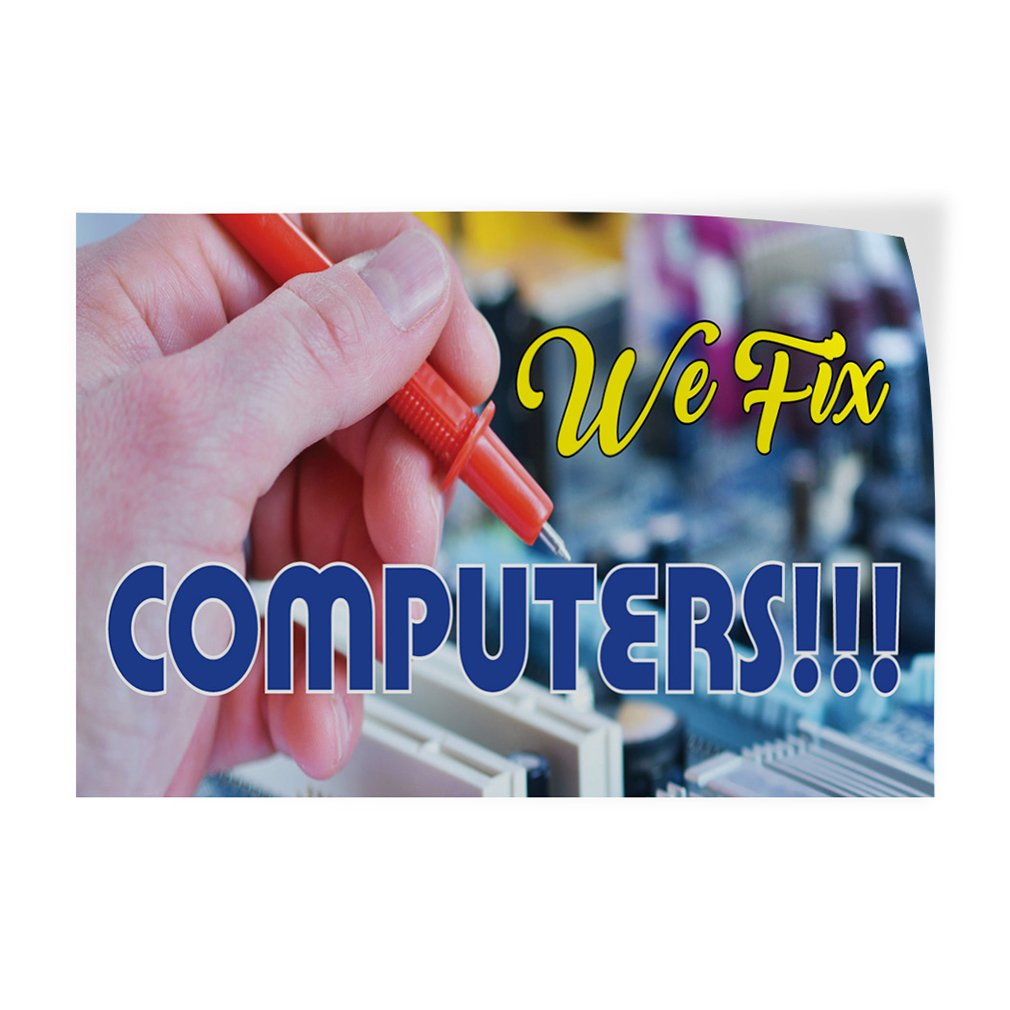 27inx18in Decal Sticker Multiple Sizes We Fix Computers!! Set of 5 Business Computer Repair Outdoor Store Sign Blue