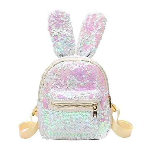 Women Girls Sequin Backpack PU Leather Rabbit Ears Cute Stylish Travel  School Shoulder Handbags (24cm21cm9cm 97293d001edc1