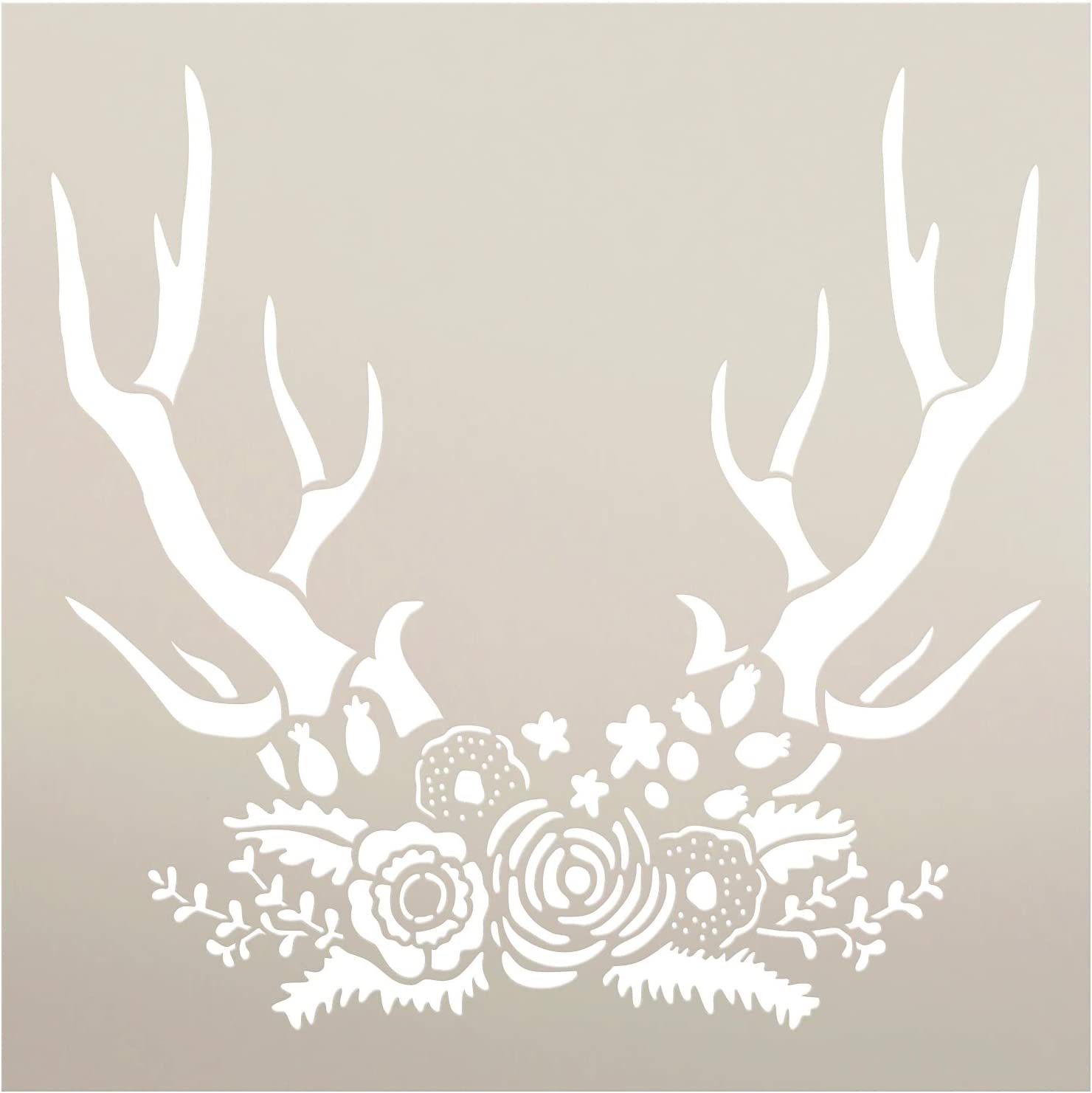 """Antlers & Flowers Stencil with Leaves by StudioR12 