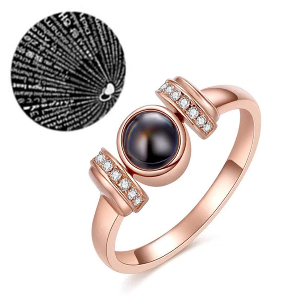 88ec0b99e Amazon.com: EYIIYE 100 Languages I Love You Projection Ring Romantic Love  Memory Engagement Wedding Ring: Jewelry