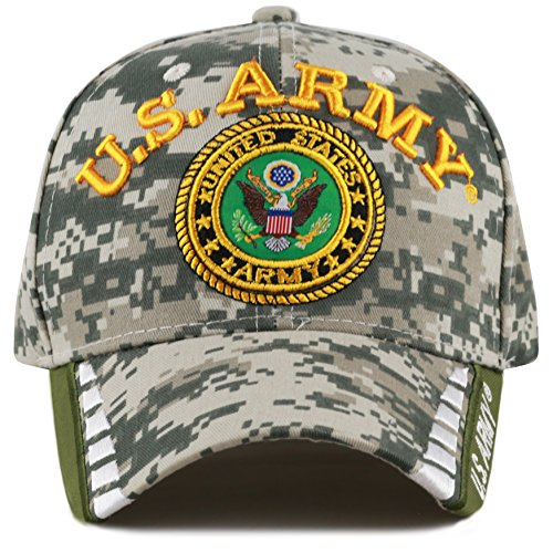 THE HAT DEPOT Official Licensed 3D Embroidered Military One Size Cap (Digi Camo Line-U.S. Army) (Hat Army Us Camo)