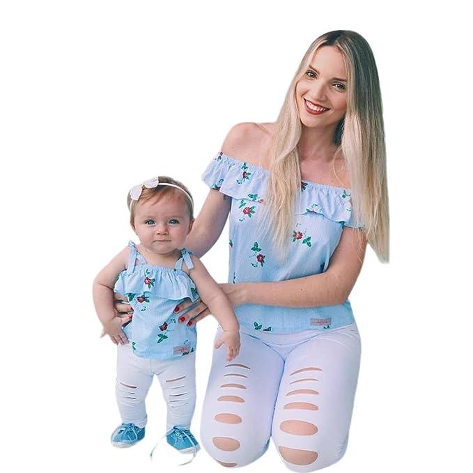 d01c03d63 PAOLIAN Camisetas para Bebe Niñas y Mujer Familia Madre e Hija Verano 2018  Sling Sin Tirantes