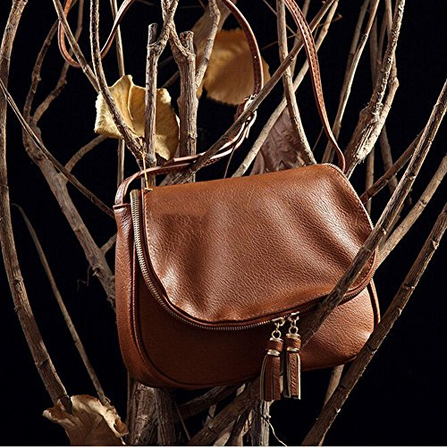 Women Leather Tassel Handbag Crossbody Bag Messenger Tote Purse Satchel Fashio, so give your life comfort and easiness! it is long enough for daily use. (Brown)