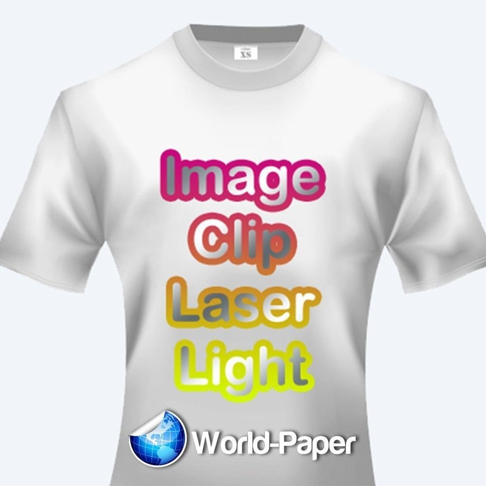 LASER TRANSFER FOR WHITE FABRIC: ''IMAGE CLIP LIGHT'' 11'' x 17'' 100pk :)