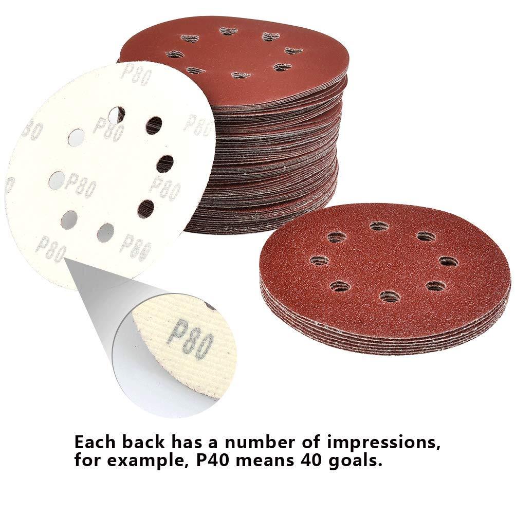 10 disques par taille de grain TIMESETL Disque de Pon/çage 80 Papier de Verre /à Fixation en Nylonpour Ponceuse Excentrique /Ø 125 mm Disques Abrasifs de 40//60//80//120//180//240//320//400
