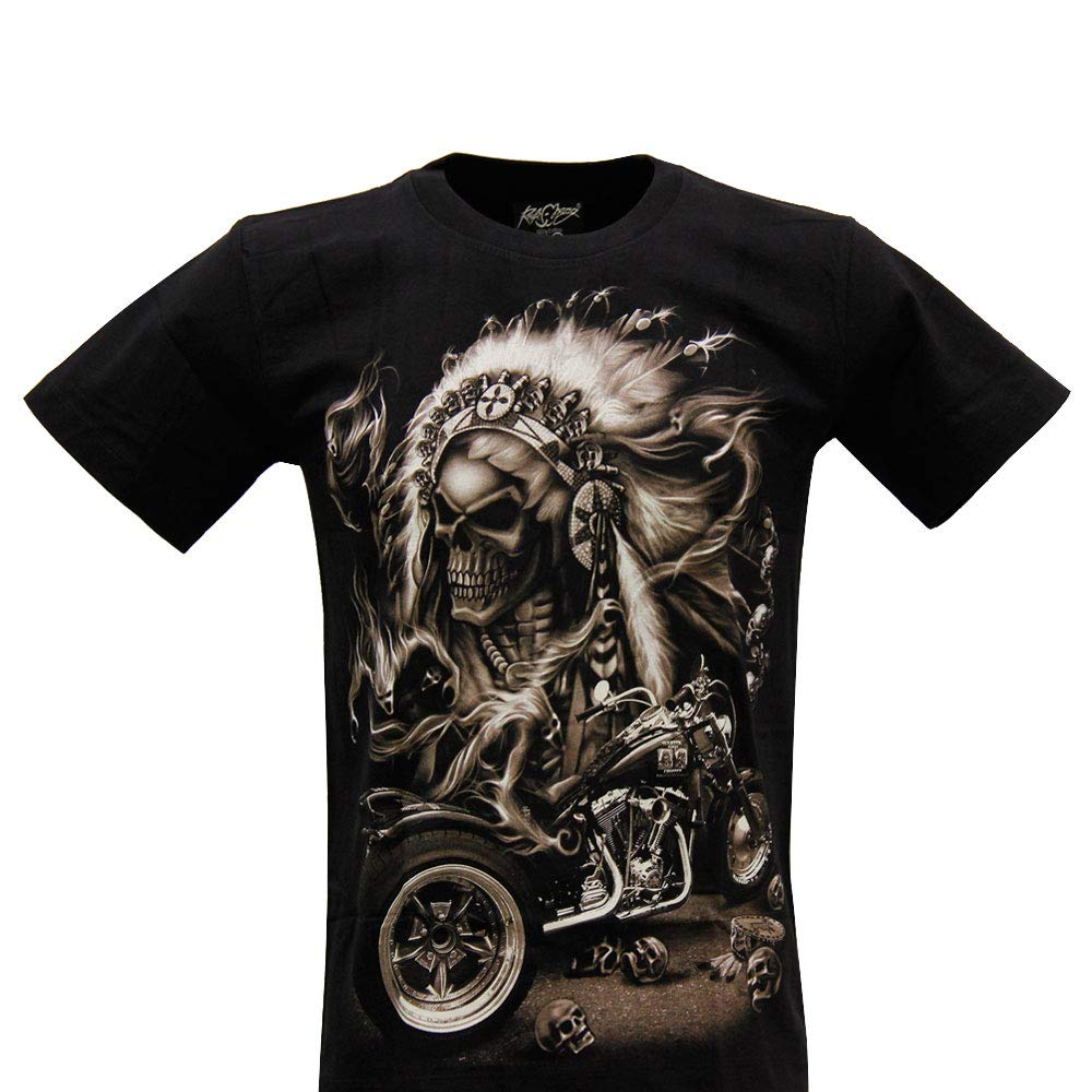 Talla S M L XL ROCK GR-248 Camiseta de Hombre y Mujer de algod/ón de Manga Corta con impresi/ón de Calavera India con Efecto Adelgazante
