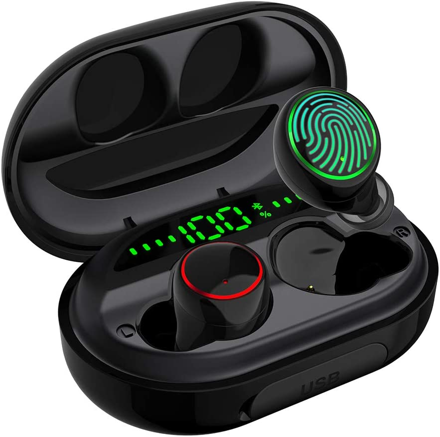 Wireless Earbuds Bluetooth 5.0 with Charging Case IPX8 Waterproof TWS Stereo Noise Cancelling Headphones in Ear Built in Mic Headset Premium Sound with Deep Bass for Sport Black