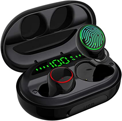 Amazon Com Wireless Earbuds Bluetooth 5 0 With Charging Case Ipx8 Waterproof Tws Stereo Noise Cancelling Headphones In Ear Built In Mic Headset Premium Sound With Deep Bass For Sport Black Home Audio