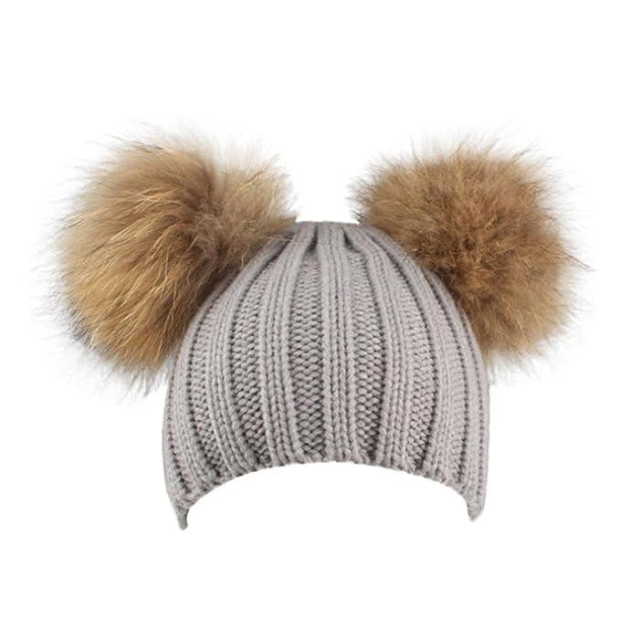 Mädchen Mütze mit Bommel,TUDUZ Damen Winter Häkelarbeit Hut Pelz ...