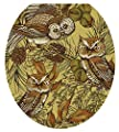 Toilet Tattoos, Toilet Seat Cover Decal, Owls in Pine, Size Round/standard
