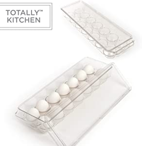 Totally Kitchen Plastic Egg Holder | BPA Free Fridge Organizer with Lid & Handles | Refrigerator Storage Container | 14 Egg Tray, Clear (2 Pack)