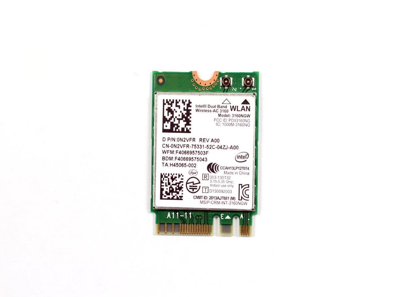 OEM Dell Intel Dual Band Wireless-AC 3160 Wifi & Bluetooth Card 0N2VFR N2VFR