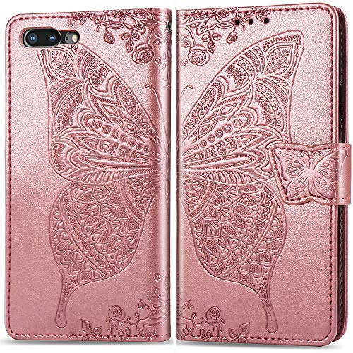Iphone 8 Case Wallet,iphone 7 Purse Case,Auker Card Holder Fold Kickstand Feature Butterfly Embossed Leather Flip Magnetic Slim Fit Full Body Wallet Case with Money Pocket for Women iphone7/8 (RoGold)