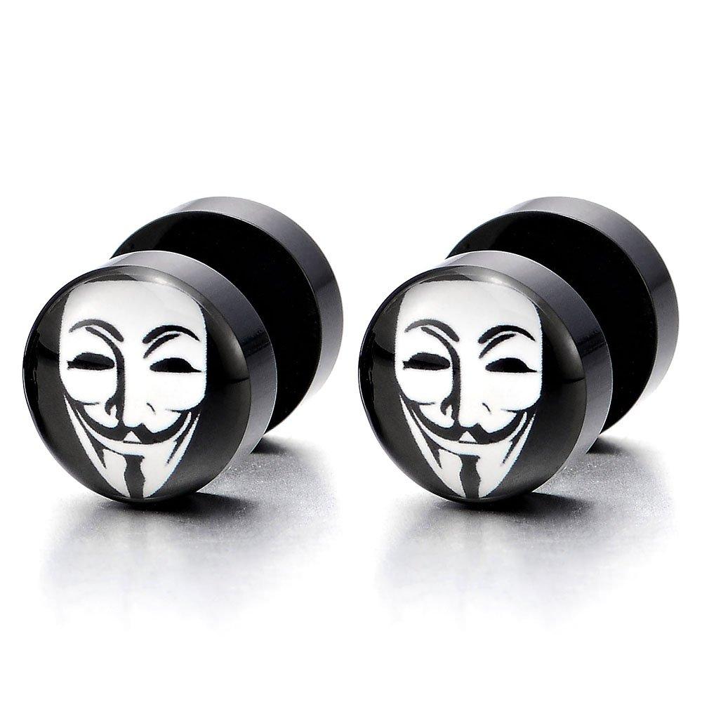 Bouchon Jauge Cheater Fake Plugs Homme Femmes Acier 10MM Noir Rond Cercle Boucles doreilles avec Clown Masque