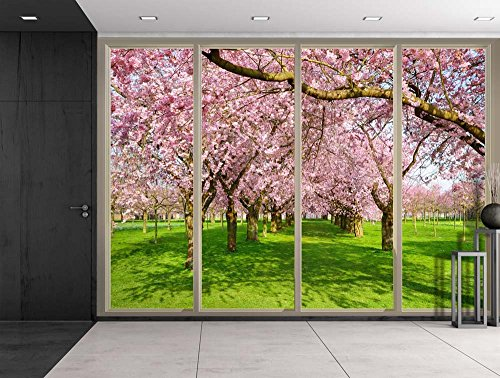 Rows of Pink Cherry Blossom Trees Over Green Grass Viewed From Sliding Door Creative Wall Mural Peel and Stick Wallpaper
