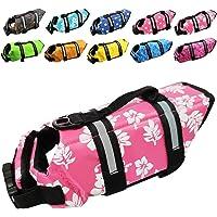 Dog Life Jacket Easy-Fit Adjustable Belt Pet Saver Swimming Safety Swimsuit Preserver with Reflective Stripes for Doggie…
