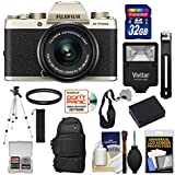 Fujifilm X-T100 Digital Camera & 15-45mm XC OIS PZ Lens (Champagne Gold) 32GB Card + Backpack + Battery + Tripod + Kit