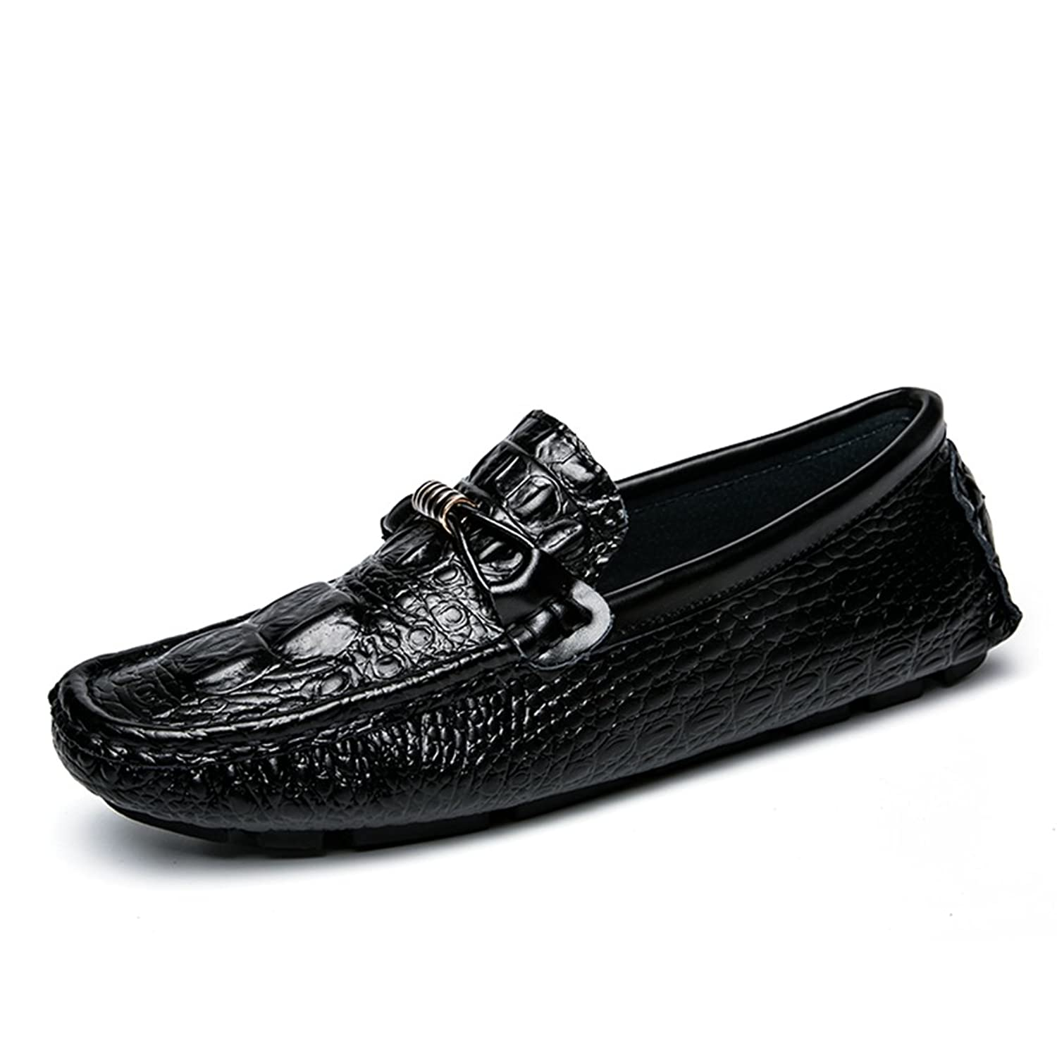 Men's Loafers Casual Slip Ons Driving Office Work School Shoes Soft Leather Flats Black US8.5