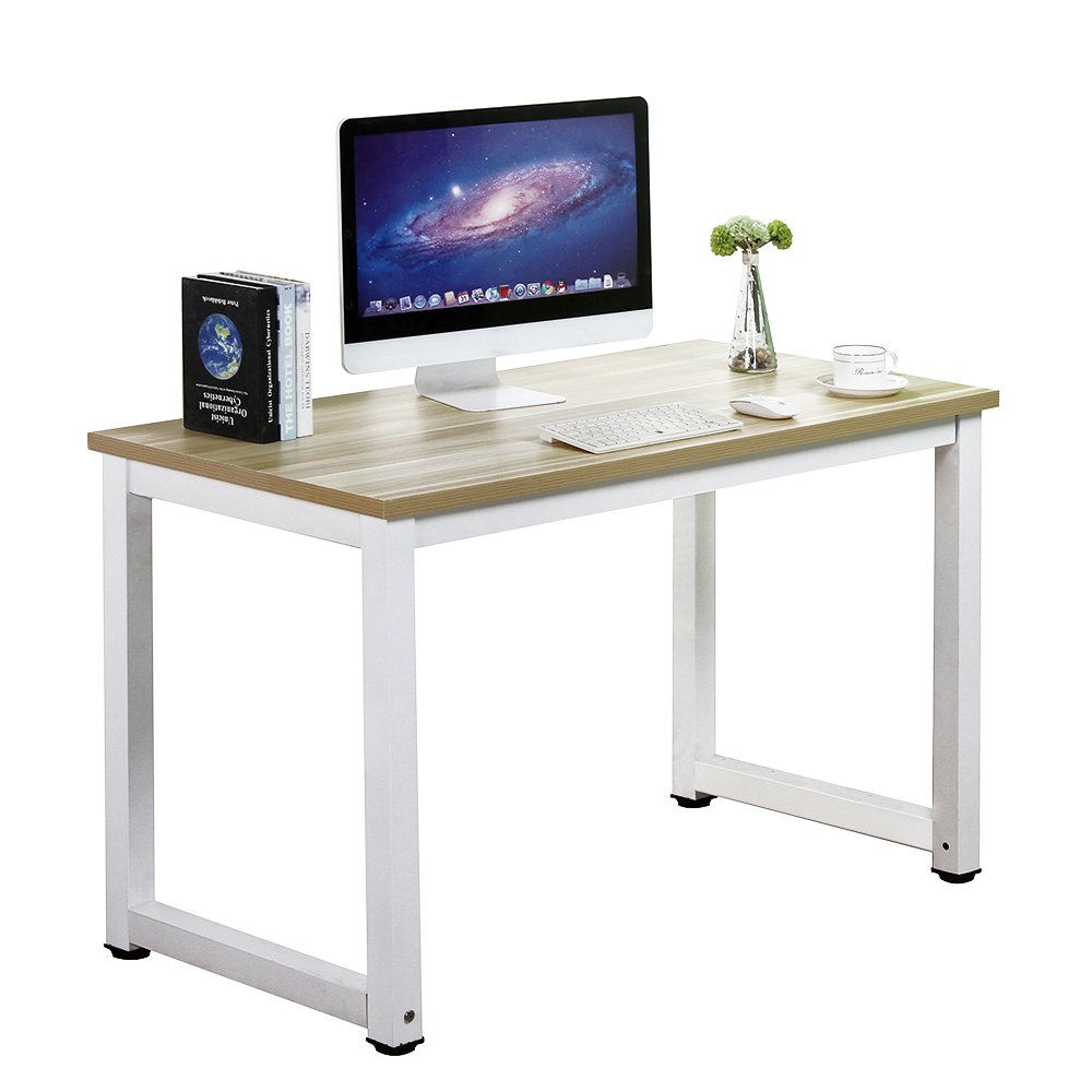 gootrades Home Office Computer Table, 47'' Sturdy Office Desk Study Writing Desk, Modern Simple Style PC Workstation Table for living Room, Walnut + White Leg