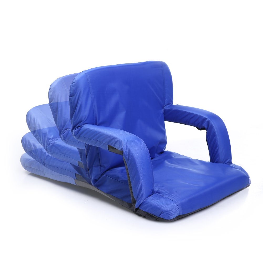 JialingリクライニングBleacherポータブルチェア、アームレストfor Home and Outdoors B0799JPBZF ブルー ブルー